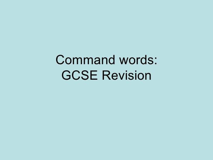 Command words: GCSE Revision
