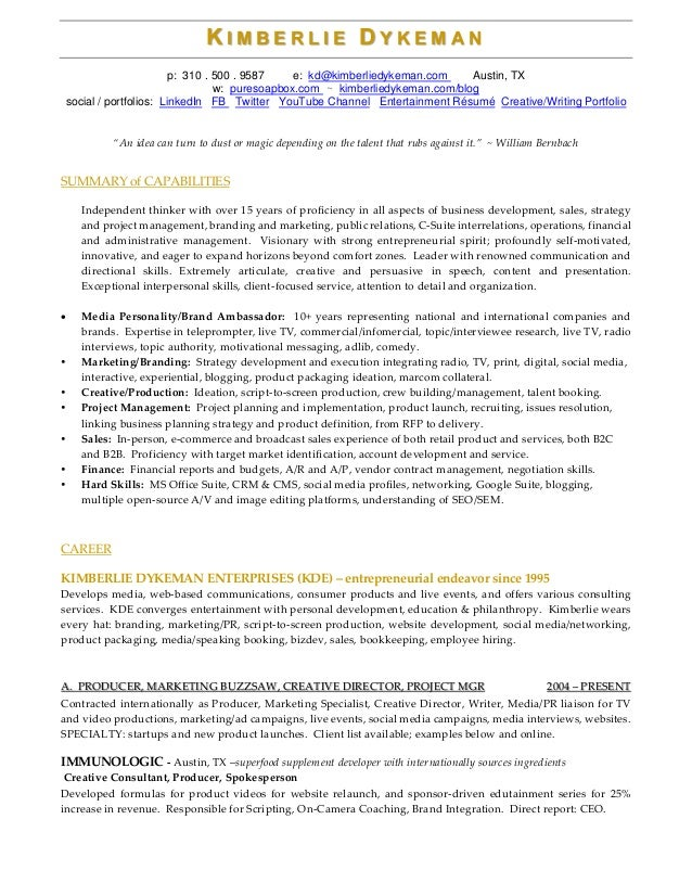 Resume Templates Television News Producer  Producer Resume