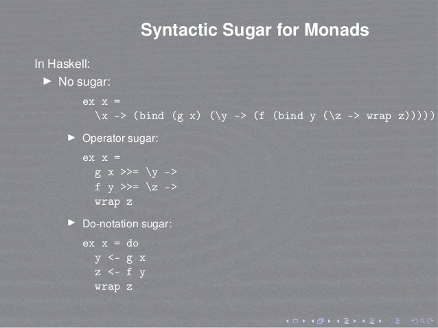 Syntactic Sugar for Monads In Haskell: No sugar: ex x = x -> (bind (g x) (y -> (f (bind y (z -> wrap z))))) Operator sugar...