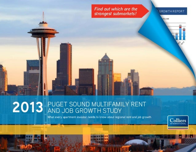 Find out which are the strongest submarkets!  2013 Puget sound Multifamily rent and Job growth report sales volume Sales V...