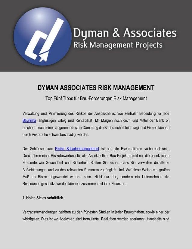 DYMAN ASSOCIATES RISK MANAGEMENT  Top Fünf Tipps für Bau-Forderungen Risk Management  Verwaltung und Minimierung des Risik...