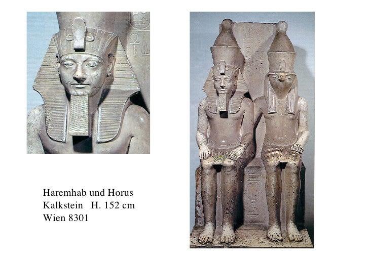Haremhab und Horus Kalkstein H. 152 cm Wien 8301