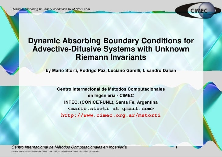 Dynamic absorbing boundary conditions by M.Storti et.al.                         Dynamic Absorbing Boundary Conditions for...
