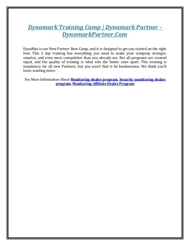 Dynamark Training Camp   Dynamark Partner - DynamarkPartner.Com DynaMax is our New Partner Boot Camp, and it is designed t...