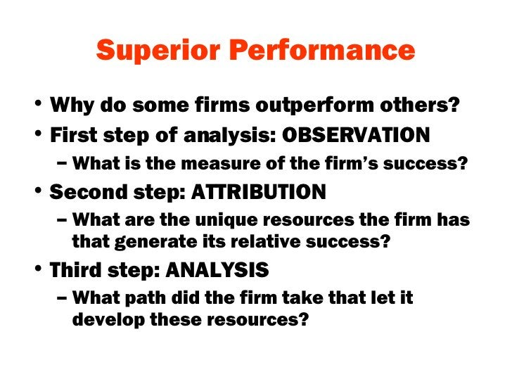Superior Performance <ul><li>Why do some firms outperform others? </li></ul><ul><li>First step of analysis: OBSERVATION </...