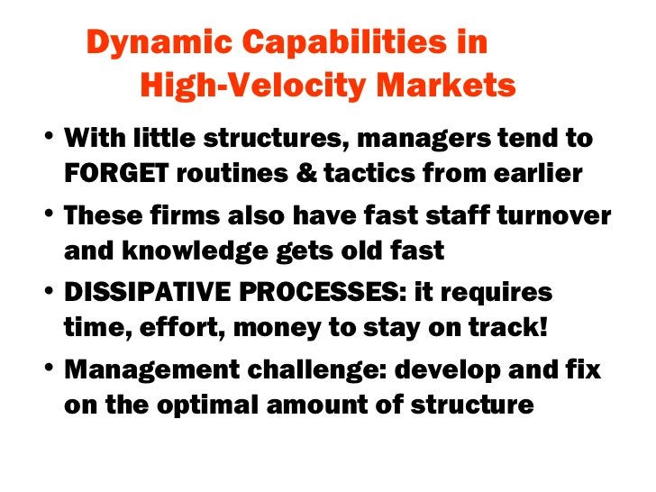 Dynamic Capabilities in  High-Velocity Markets <ul><li>With little structures, managers tend to FORGET routines & tactics ...
