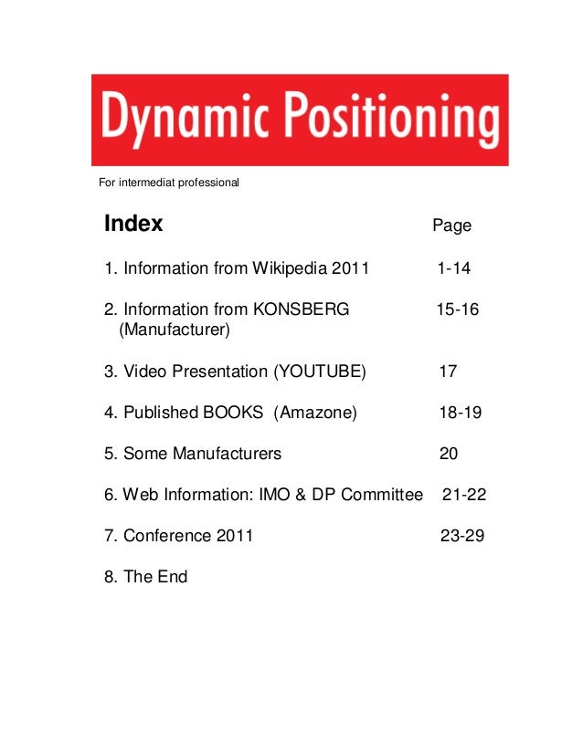 For intermediat professional Index Page 1. Information from Wikipedia 2011 1-14 2. Information from KONSBERG 15-16 (Manufa...