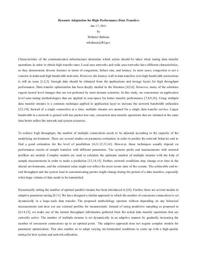Dynamic Adaptation for High-Performance Data Transfers Jan 17, 2011 by Mehmet Balman mbalman@lbl.gov Characteristics of th...