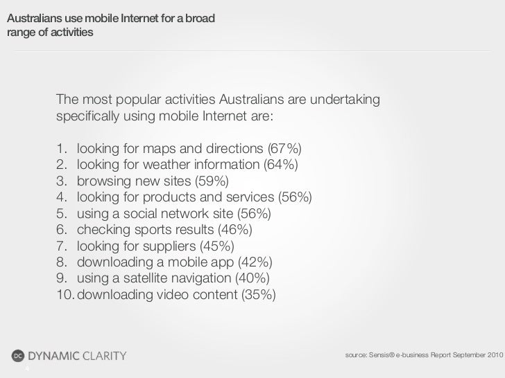 Australians use mobile Internet for a broadrange of activities          The most popular activities Australians are undert...