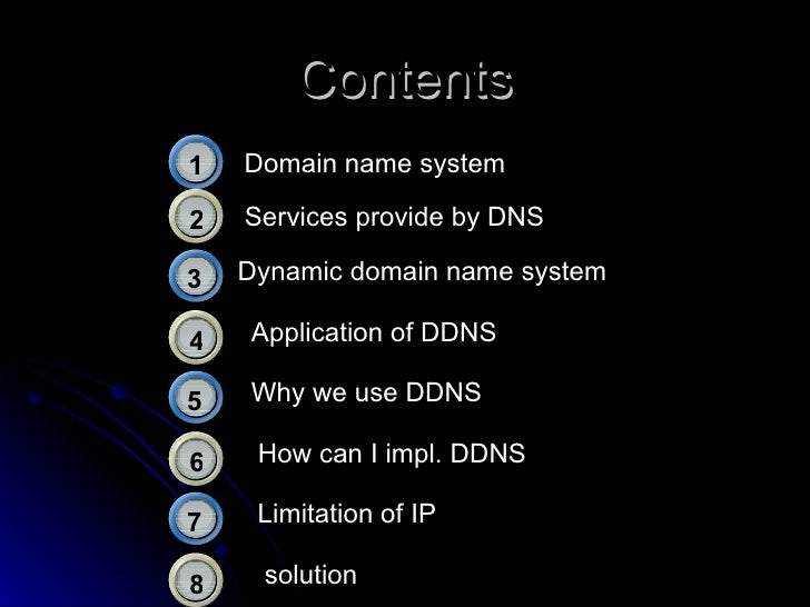 Contents Domain name   system Services provide by DNS Dynamic domain name system Why we use DDNS Application of DDNS Limit...