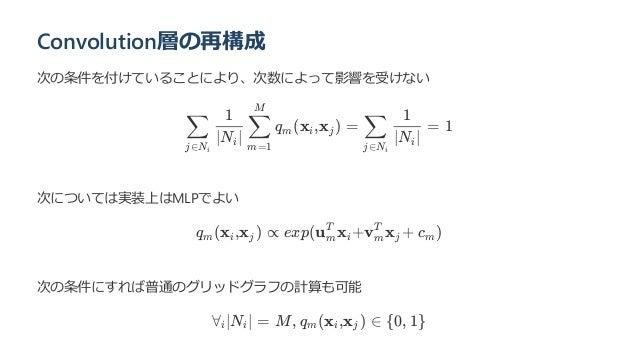 Convolution層の再構成 次の条件を付けていることにより、次数によって影響を受けない q (x ,x ) = = 1 次については実装上はMLPでよい q (x ,x ) ∝ exp(u x +v x + c ) 次の条件にすれば普通の...