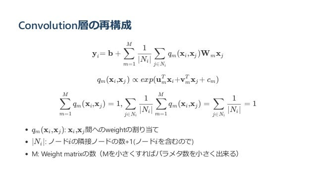 Convolution層の再構成 y = b + q (x ,x )W x q (x ,x ) ∝ exp(u x +v x + c ) q (x ,x ) = 1, q (x ,x ) = = 1 q (x ,x ): x ,x 間へのwei...