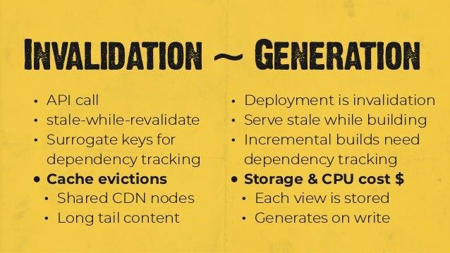 • API call • stale-while-revalidate • Surrogate keys for dependency tracking • Cache evictions • Shared CDN nodes • Long t...