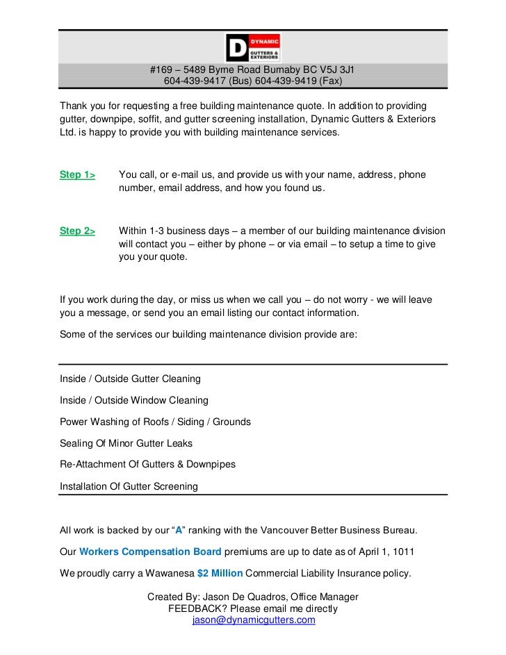 Building Maintenance Introductory Letter