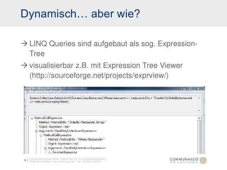 Dynamisch… aber wie?   LINQ Queries sind aufgebaut als sog. Expression-   Tree  visualisierbar z.B. mit Expression Tree ...