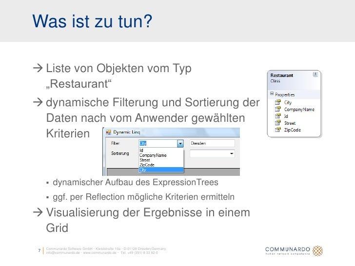 """Was ist zu tun?   Liste von Objekten vom Typ   """"Restaurant""""  dynamische Filterung und Sortierung der   Daten nach vom An..."""