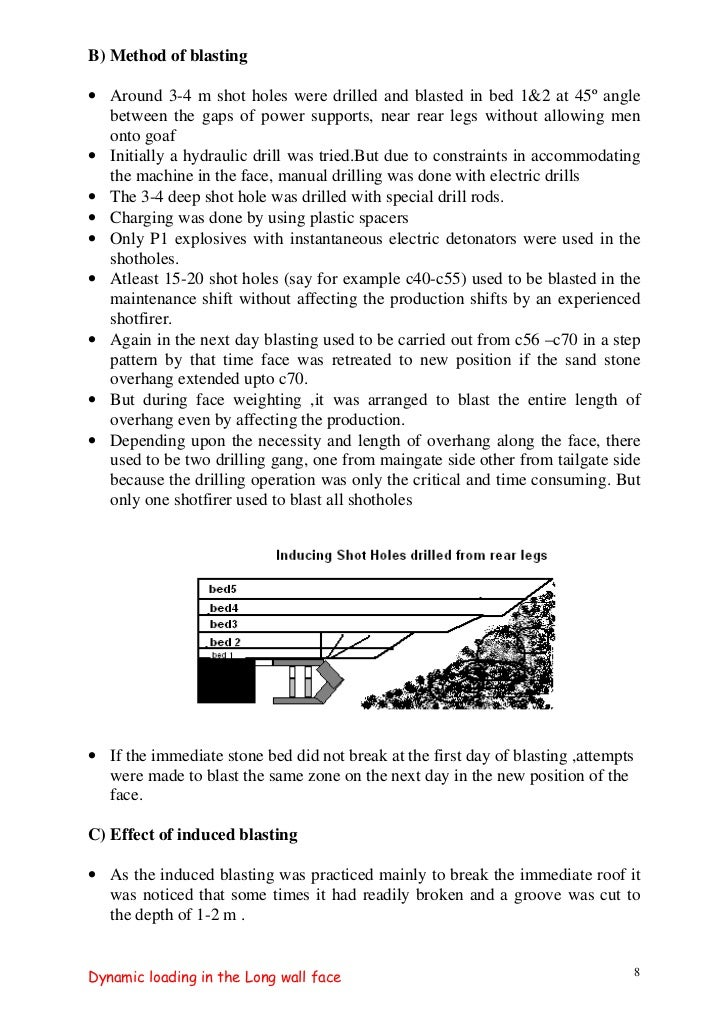 B) Method of blasting• Around 3-4 m shot holes were drilled and blasted in bed 1&2 at 45º angle  between the gaps of power...
