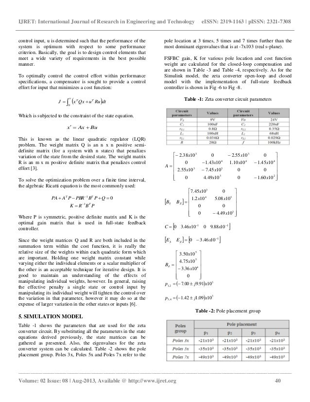 Dynamic model of zeta converter with full state feedback