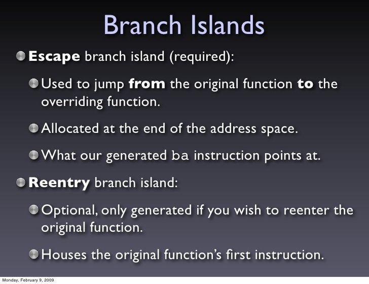 Branch Islands            Escape branch island (required):                  Used to jump from the original function to the...