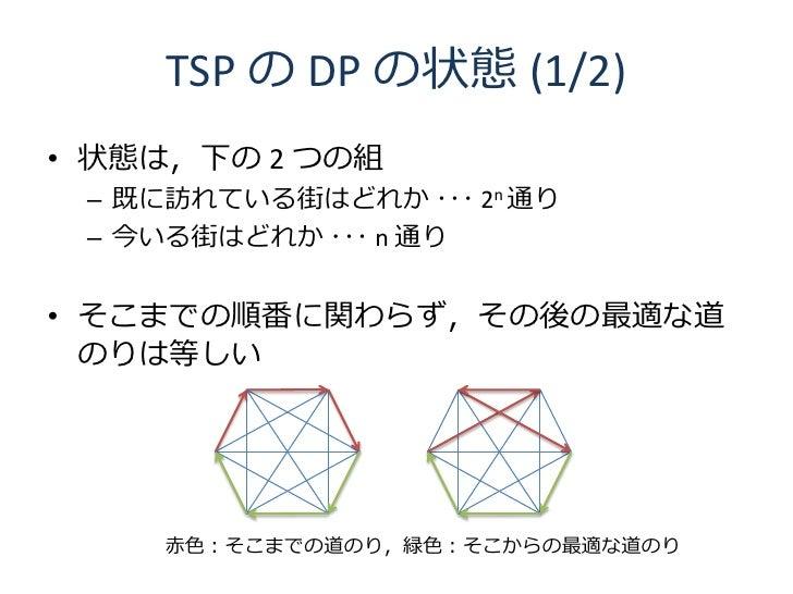 TSP の DP の状態 (1/2) • 状態は,下の 2 つの組  – 既に訪れている街はどれか ・・・ 2n 通り  – 今いる街はどれか ・・・ n 通り   • そこまでの順番に関わらず,その後の最適な道   のりは等しい       ...
