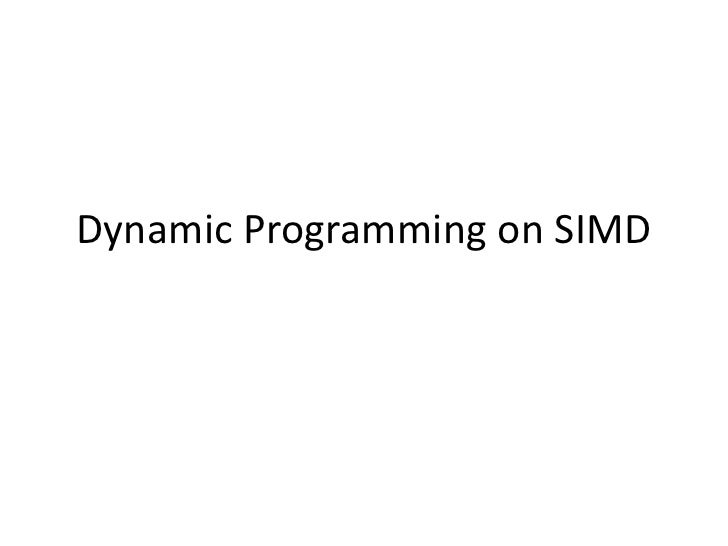 Dynamic Programming on SIMD