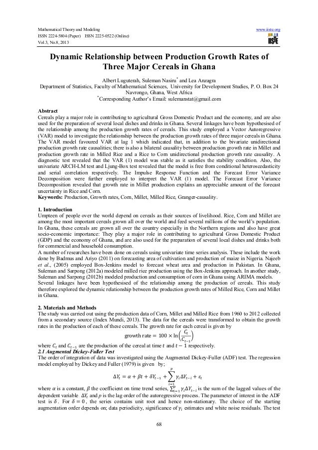 Mathematical Theory and Modeling www.iiste.org ISSN 2224-5804 (Paper) ISSN 2225-0522 (Online) Vol.3, No.8, 2013 68 Dynamic...