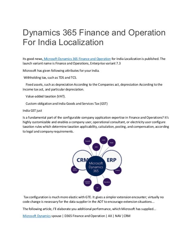 Dynamics 365 Finance and Operation For India Localization
