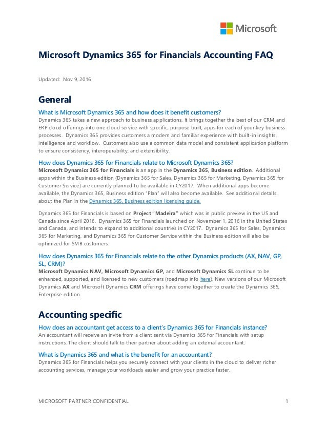 Microsoft Dynamics 365 for Financials Accounting FAQ
