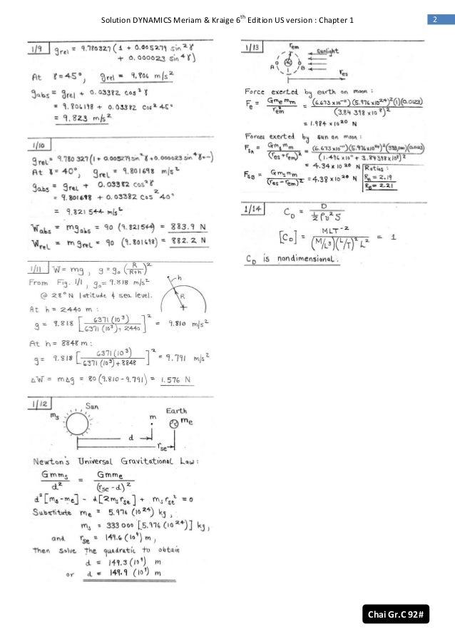 dynamics 6th ed meriam solution rh slideshare net solution manual dynamics meriam 7th dynamics 7th edition solution manual meriam