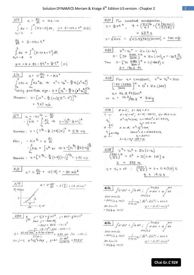 dynamics 6th ed meriam solution rh slideshare net meriam dynamics solution manual 6th edition engineering mechanics dynamics 7th edition solution manual meriam pdf