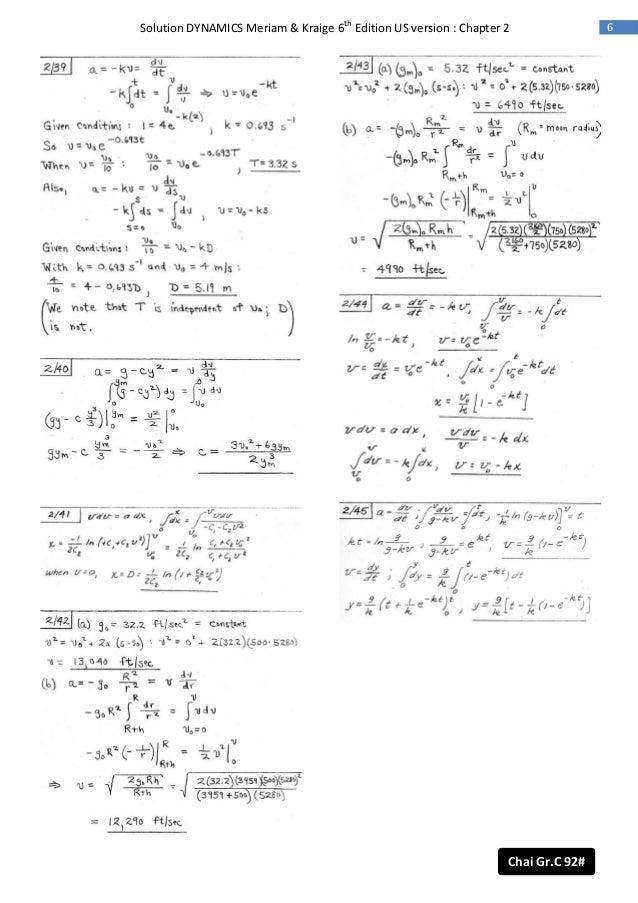 dynamics 6th ed meriam solution rh slideshare net solution manual dynamics meriam kraige 7th engineering mechanics dynamics 7th edition solution manual meriam kraige pdf