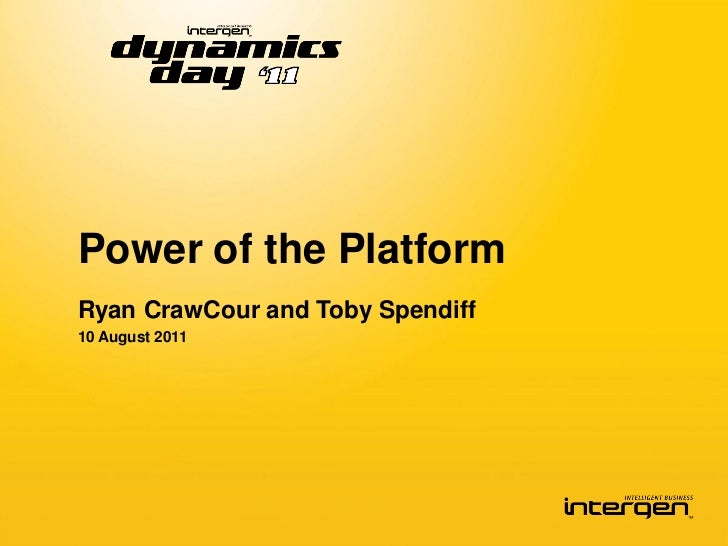 Power of the PlatformRyan CrawCour and Toby Spendiff10 August 2011