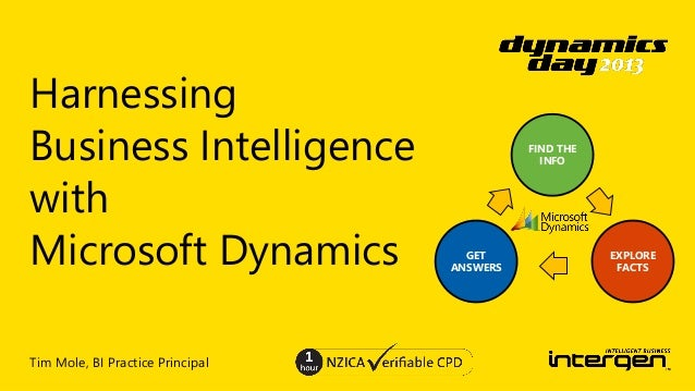 Harnessing Business Intelligence with Microsoft Dynamics Tim Mole, BI Practice Principal  FIND THE INFO  GET ANSWERS  EXPL...