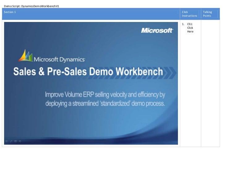 Demo Script: DynamicsDemoWorkbenchV1Section 1                              Click          Talking                         ...
