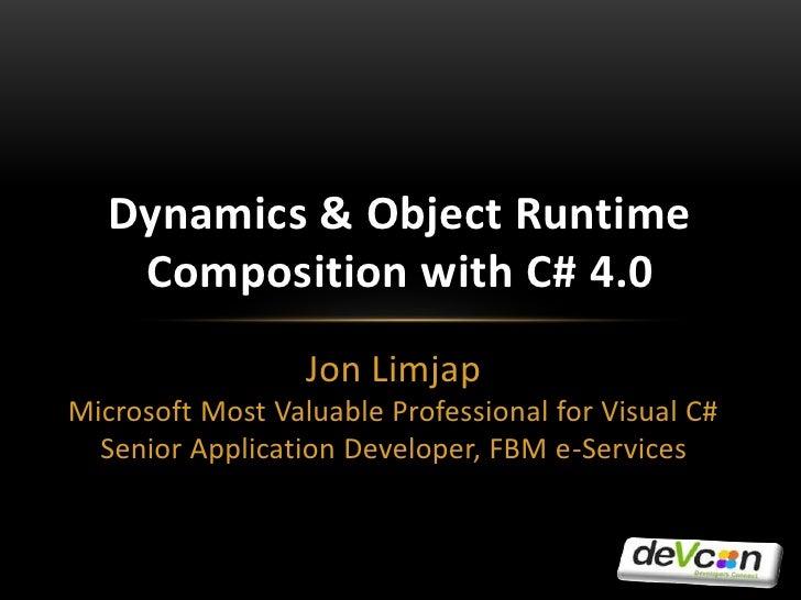 Jon Limjap<br />Microsoft Most Valuable Professional for Visual C#<br />Senior Application Developer, FBM e-Services<br />...