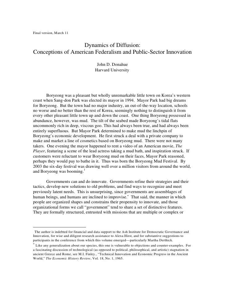 Final version, March 11                   Dynamics of Diffusion:Conceptions of American Federalism and Public-Sector Innov...