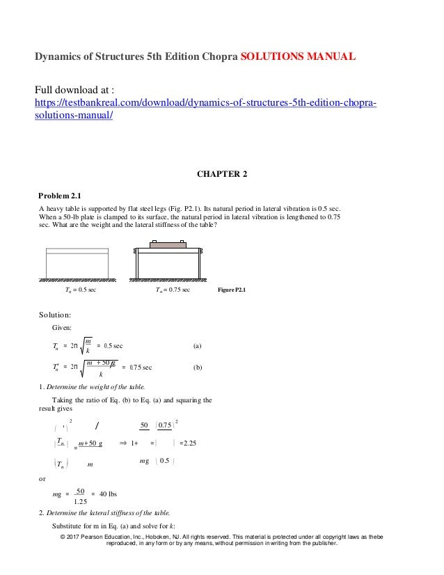 dynamics of structures 5th edition chopra solutions manual rh slideshare net Dr. Anil Chopra Nuclear Radiation Manual