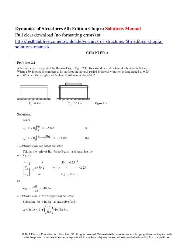 dynamics of structures 5th edition chopra solutions manual rh slideshare net Dr. Glen Burnie MD Glen Burnie Dr. Anil Chopra