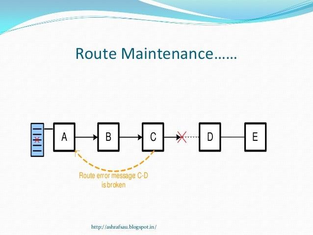 Route Maintenance……A             B                   C     D   E    Route error message: C-D            is broken        h...