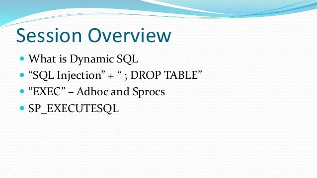 Dynamic sql exec and sp executesql with sql injection - Sql injection drop table example ...