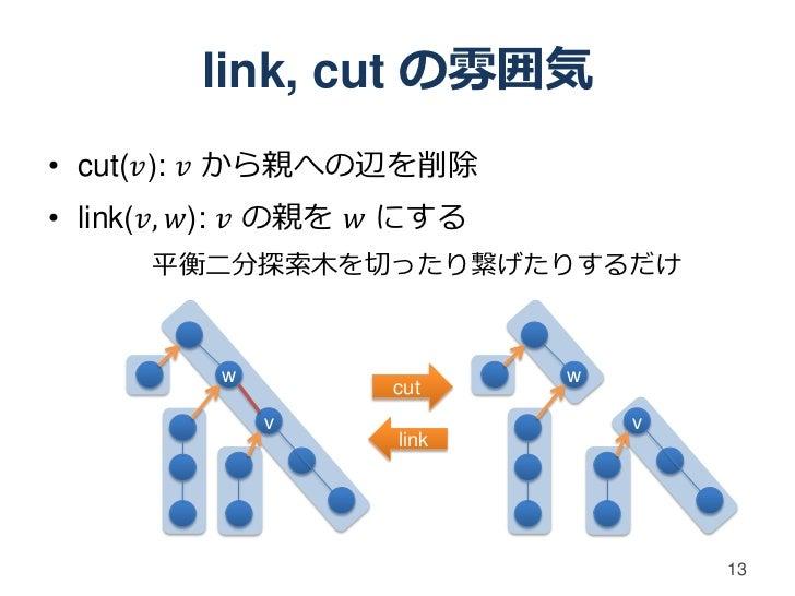 link, cut の雰囲気• cut(𝑣): 𝑣 から親への辺を削除• link(𝑣, 𝑤): 𝑣 の親を 𝑤 にする      平衡二分探索木を切ったり繋げたりするだけ          w                 w       ...