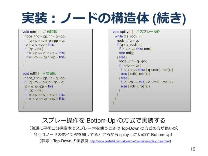 実装:ノードの構造体 (続き)void rotr() { // 右回転                                   void splay() { // スプレー操作  node_t *q = pp, *r = q->pp...