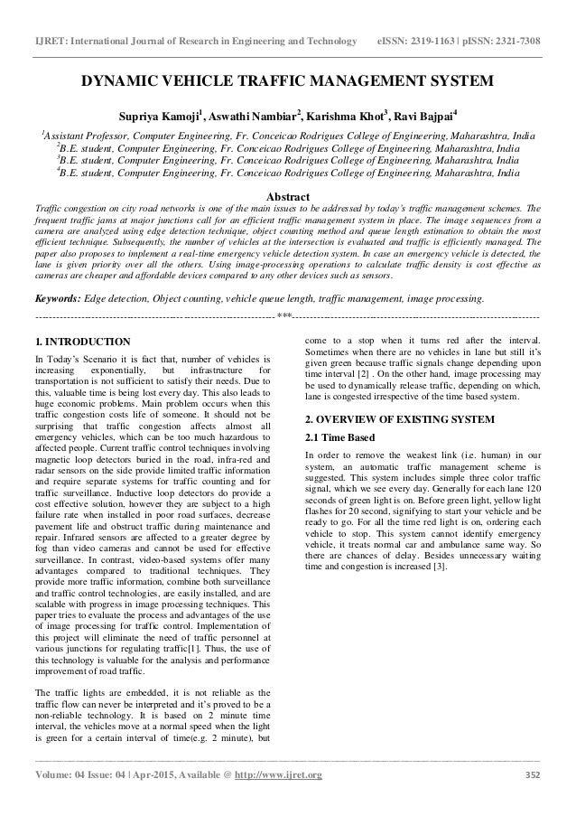 Dynamic vehicle traffic management system eSAT Journals