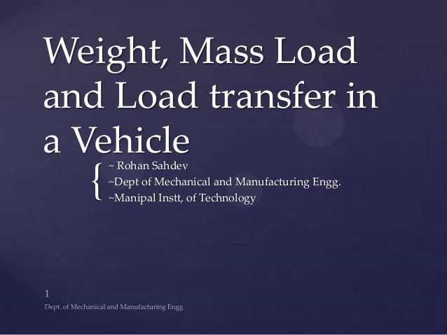 { Weight, Mass Load and Load transfer in a Vehicle~ Rohan Sahdev ~Dept of Mechanical and Manufacturing Engg. ~Manipal Inst...
