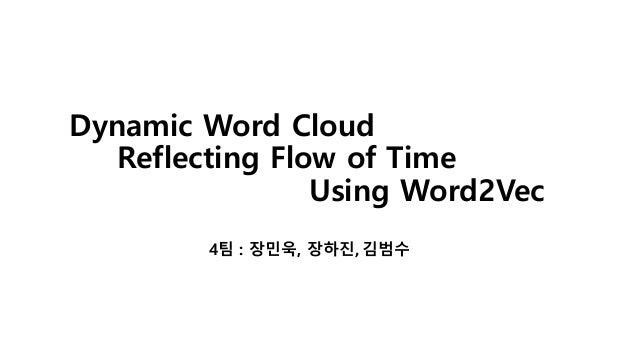 Dynamic Word Cloud Reflecting Flow of Time Using Word2Vec 4팀 : 장민욱, 장하진, 김범수