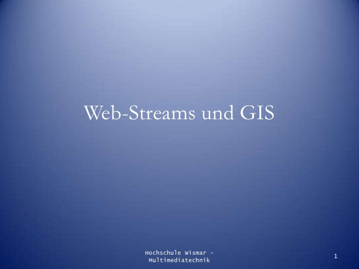 Web-Streams und Web-Geoinformationssysteme