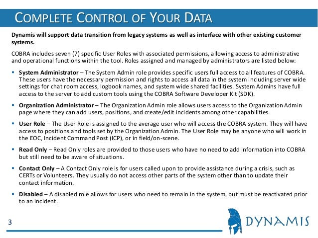 Dynamis COBRA Software 2019