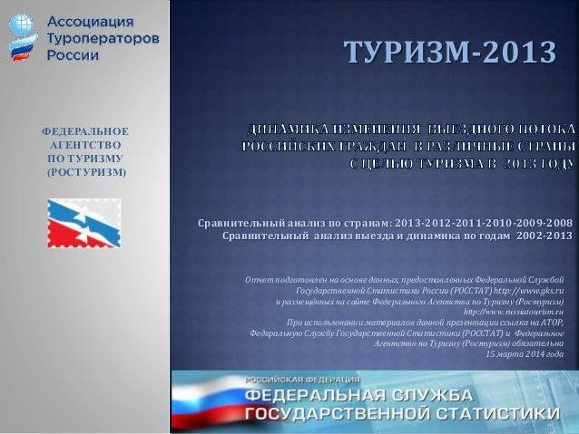 ТУРИЗМ-2013 Сравнительный анализ по странам: 2013-2012-2011-2010-2009-2008 Сравнительный анализ выезда и динамика по годам...