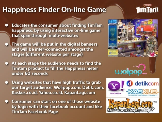 Happiness Finder On-‐line Game•   Educates the consumer about finding TimTam    happiness, by using interactive on-‐line ga...