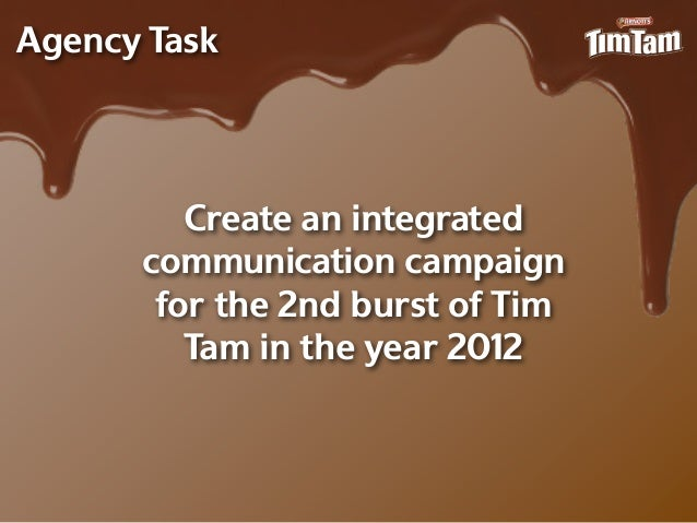 Agency Task         Create an integrated      communication campaign       for the 2nd burst of Tim         Tam in the yea...